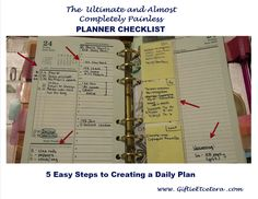 Giftie Etcetera: 5 Critical Components of an Effective Daily Plan; Setting Up Your Planner; How to Use Your Planner Planner Tips, Monthly Planner, Happy Planner, Franklin Covey Planner, Daily Page, Planner Inserts, Planner Sheets, Planner Organization, How To Plan
