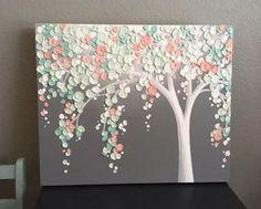 Mint Green and Peach Coral Art Textured Tree Nursery Art