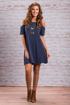 """On My Way Up Dress, Navy""We are so in love with this dress! It's fairly simple which is part of the reason we love it! You can mix and match jewelry and shoes for days! #newarrivals #shopthemint"