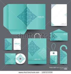 Stationery design set in vector format, Thai art Pattern by Tarapong Siao, via ShutterStock