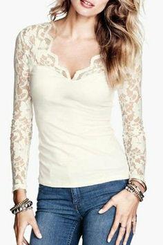 So Pretty! Sexy White V-neck Lace Sleeve Blouse #sexy #white_lace #fashion