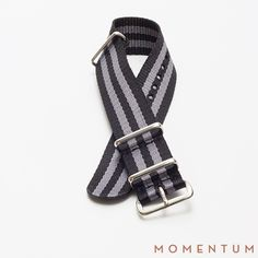 Grey and black stiped nato available in steel and gold buckle: http://momentum-dubai.com/collections/watch-straps/products/watch-strap-nato-grey-black-double-striped