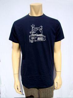 Mens T Shirt Dj Turntable Flintstones retro Style by BANKUSSI
