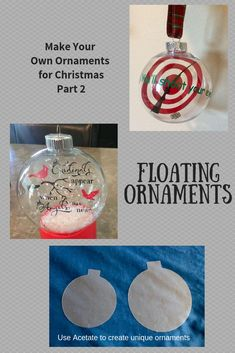 Make your own Christmas Ornaments Floating Ornaments – My Florida Life My First Christmas, First Christmas Ornament, Christmas Crafts For Kids, Holiday Ornaments, Christmas Projects, Holiday Crafts, Christmas Diy, Christmas Bulbs, Personalized Ornaments