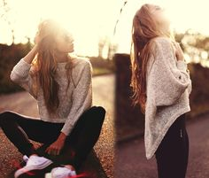 Skinnys, sweater, white converse