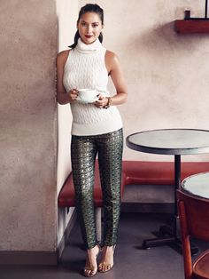 Winter Fashion Trends 2014 - Metallic cigarette pants - Olivia Munn Models Winter Fashion - Good Housekeeping Dec 2014