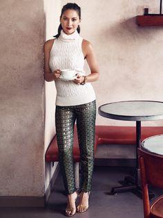 Winter Fashion Trends 2014 - Metallic cigarette pants - Olivia Munn Models Winter Fashion - Good Housekeeping Dec 2014