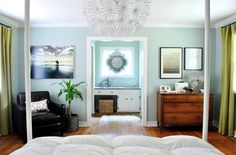 bedroom furniture arrangement from Young House Love