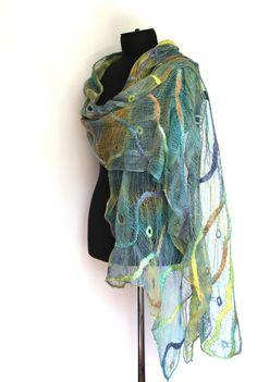 Marina Shkolnik Nuno Felted Wrap Scarf  50/50 Tencel tops / Australian merino wool, cotton gauze.