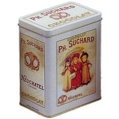 FRENCH VINTAGE DECORATIVE METAL BOX 12x8x15cm RETRO AD SUCHARD CHOCOLATE 3 GIRL