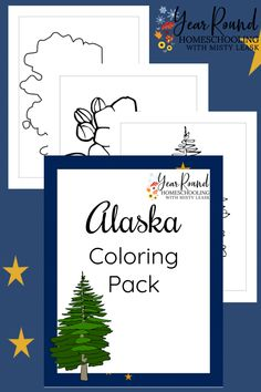 Kids of all ages will enjoy learning about the state of Alaska as they complete each of these Alaska Coloring Pages! #Alaska #USA #Geography #Homeschool #USGeography #Homeschooling #YearRoundHomeschooling #Printable #Color #Coloring