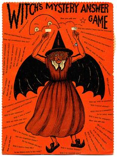 """Vintage Halloween game by Beistle Co. The witch design was also sold as an articulated diecut, marketed as """"The Horrible Witch""""."""