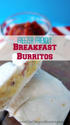 Want a healthier breakfast on the go?  You've got to try this Make Ahead Freezer Breakfast Burritos Recipe. It's easier than pouring a bowl of cereal and at $0.40 per burrito, it's a cheaper alternative too!