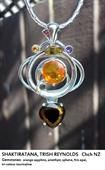 Shaktiratana, Trish Reynolds - orange sapphire, amethyst, phene, fire opal, tri-colour tourmaline.