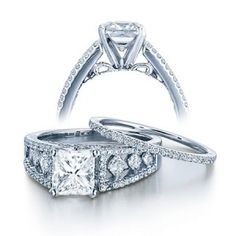 2.17 Carat Princess cut Diamond Diamond Wedding Set on Sale 10K White Gold