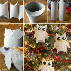 Cheep Diy Owl ornaments made out of toilet paper rolls! More A white snow owl ornament craft Owl Ornament, Ornament Crafts, Diy Christmas Ornaments, Harry Potter Christmas Ornaments, Owl Crafts, Christmas Projects, Holiday Crafts, Toilet Paper Roll Crafts, Paper Crafts