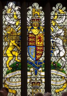The Diamond Jubilee stained glass window at Westminster Hall, London,  5 June 2012.© Press Association