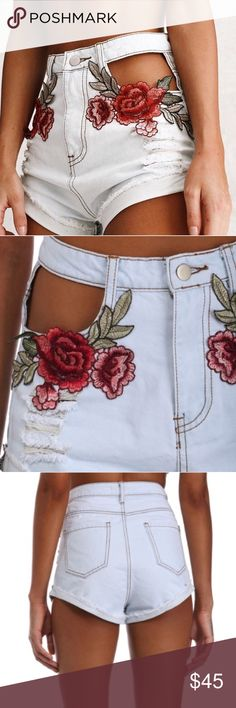Windsor • Embroidered Denim Shorts NWT! So cute!! Windsor embroidered light denim shorts with floral embroidery and cutout pockets. High waisted. These would be perfect for Coachella or any other festival or summer event! Sadly, these were too small for me. These are in high demand and sold out on their site! Price firm, just trying to make my money back. WINDSOR Shorts Jean Shorts