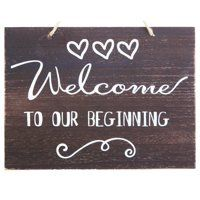 JennyGems Welcome To Our Beginning Sign - Wedding Ceremony and Reception Decorations - Ring Bearer Signs - Flower Girl Signs - House Warming Party Sign - Rustic ** Learn more by visiting the image link. (This is an affiliate link) Wedding Welcome Signs, Wedding Signs, Wedding Table, Rustic Wedding, Wedding Ceremony, Wedding Receptions, Wedding Ideas, Wedding Crafts, Wedding Stuff