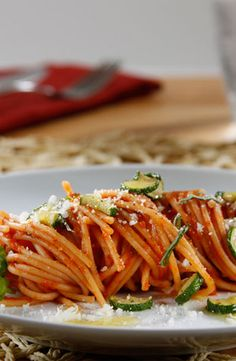 Your next protein providing meal under 30 minutes awaits: Spaghetti with Barilla Tomato and Basil Sauce, Fresh Parmigiano and Zucchini.