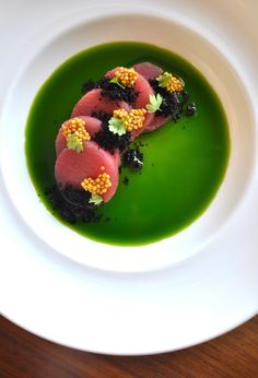 tuna, basil oil, olive soil, bloomed mustard seeds, and micro celery Gourmet Recipes, Cooking Recipes, Gourmet Desserts, Gourmet Foods, Sushi Recipes, Food Plating Techniques, Chefs, Food Decoration, Snacks
