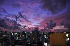 Imagem de sky, city, and purple