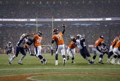 Denver Broncos quarterback Brock Osweiler (17) throws against the New England Patriots during the first half of an NFL football game, Sunday, Nov. 29, 2015, in Denver. (AP Photo/Jack Dempsey)
