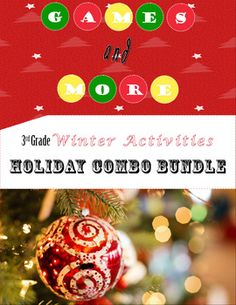 Tons of 3rd grade holiday activities in one bundle at a discounted price! What's Included:Shape It Winter game board- helps students identify rhombus, parallelogram, and 3 & 4 sided shapesWinter Playing cards- comes with instructions for 10 math building gamesHoliday Poem lesson plan- have students write an easy holiday poemWinter Word Sort- Students sort winter words by 1-2-3 syllablesCommon Core aligned ELA worksheets -  adjectives, alphabetize, synonym & antonyms, onomatopoeiaCommo...