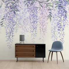 Gothic Home Decor Purple Wisteria Wallpaper Purple Vines Art Watercolor Lavender Wall Painting Decor, Wall Decor, Cheap Rustic Decor, Watercolor Walls, Gothic Home Decor, Creative Walls, Room Wallpaper, Purple Wisteria, My New Room