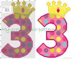 Numero tre buon compleanno schema punto croce