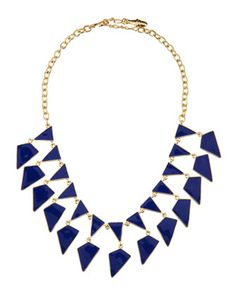 Lapis Enamel Geometric Bib Necklace by Kenneth Jay Lane at Last Call by Neiman Marcus.