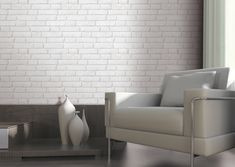 Light Grey / White - - Brick Effect - Muriva Wallpaper White Brick Wallpaper, Feature Wallpaper, Grey Brick, Spare Room, Interior Styling, Grey And White, Home Accessories, Living Room, Furniture