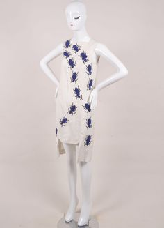 """New With Tags Beige and Blue Silk and Linen Beetle """"Swarm"""" Dress"""