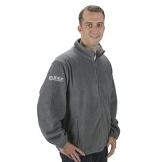 """Casually comfortable and highly breathable, this Men's Full-Zip Fleece with Embroidered """"Sleep Technologist"""" Graphic sports two spacious zippered pockets and an adjustable bottom hem drawstring."""