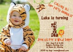 Birthday Invitation, Jungle Safari Theme