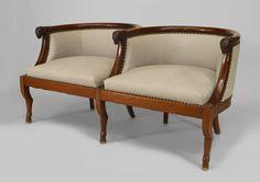French Empire seating loveseat/settee mahogany
