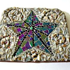 Sea star mosaic wall hanging - 6-1/2 x 7 inches - free shipping within us