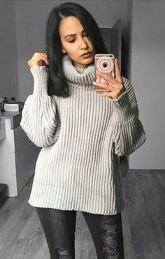 Chic as ever! Pretty Ebru Erkut is wearing this grey cowl neck sweater. #LBSDaily