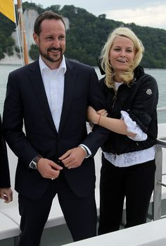 Princess Mette-Marit of Norway and Prince Haakon of Norway ride a boat along chalk cliffs in the Baltic Sea on June 12, 2010 near Sassnitz, Germany. The Norwegian prince and princess are on a one-day visit to northern Germany.