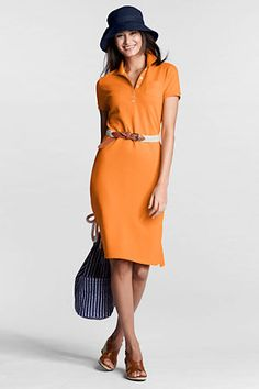 Digging orange this spring. Land's End polo dress