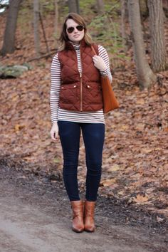 J.Crew Excursion Vest in Bronzed Brown, Vince Camuto Gravell Booties, J.Crew Striped Tissue Turtleneck
