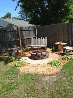 Backyard fire pit!  #diy #firepot # reuse #recycle