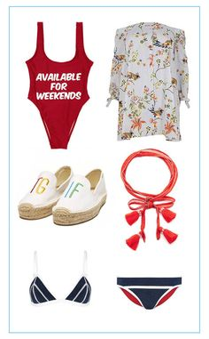 Style Packing List from Celeb Airbnb Vacations: Spring Break Edition   Private Party Available for Weekends Swimsuit, $99;River Island Plus Blue Stripe Bird Print Bardot Dress, $76;Soludos Ashkahn TGIF Embroidered Platform Smoking Slipper, $85; Chan Luu Convertible Chiffon Necktie with Tassels, $48; Duskii Monte Carlo Slim Tri Bikini Top, $85; Duskii Monte Carlo Waist Band Bikini Pant, $75