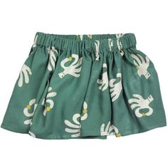 Bobo Choses Flared Skirt: Bobo Choses Flared Skirt Hand Trick AO. Part of Bobo Choses new season magic theme, this soft, cotton skirt has a fun hand trick print on a deep forest green background. The skirt has a gathered elastic waist and is a flared style.