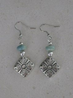 Silver and Blue Green Beaded Earrings Seafoam by RalstonOriginals