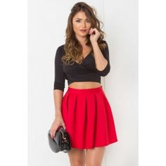 Pleat It Out Mini Skirt Red