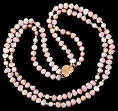 Antique Ladies Pink Strand Baroque Pearl & Gold Necklace