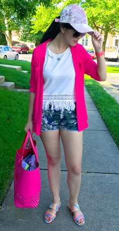 fringe | fringe top | fringe tshirt | denim shorts | denim shorts outfit | denim shorts outfit summer | slides shoes | slides outfit | slides shoes outfit | slides outfit casual | tote bag | pink tote bag | pink tote | pink tote outfit | pink tote bag outfit | pink tote purse | express outfits | express fashion | romwe outfit | romwe shirt | kate spade | kate spade bag | kate spade purse | sam edelman | sam edelman sandals | sam edelman flats | sam edelman sandals outfit