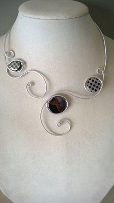 Black jewelry Black necklace Open collar by LesBijouxLibellule Funky Jewelry, Black Jewelry, Stylish Jewelry, Modern Jewelry, Wire Jewelry, Unique Jewelry, Prom Jewelry, Handmade Jewelry, Fashion Jewelry