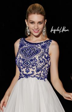 Style 51062 Bateau neckline with lace and beaded bodice, natural waist line and chiffon skirt. comes in different colours.